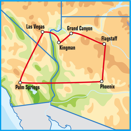 Palm Springs Self Drive Motorcycle Tours USA map