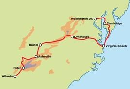 Blue Ridge Mountains to Monuments Motorcycle Tour